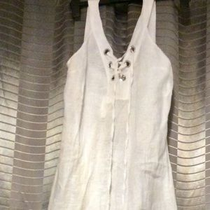 New White Linen Maxi Dress
